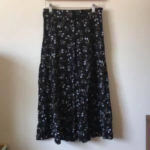Vintage • Floral Button Down Midi Skirt